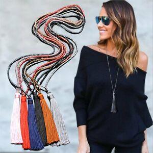 Charm-Women-Silk-Tassel-Crystal-Pendant-Necklace-Long-Sweater-Chain-Jewelry-Gift