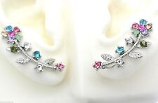 New Silver Ear Cuff Pins Trails up Lobe Earrings Wrap Pair Flower Vine Crystals