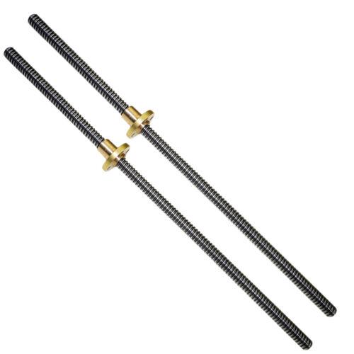 2PCS T8 2mm Acme Lead Screw Rod 250mm CNC Linear Shaft Rail Coupling Copper nut