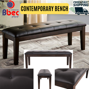 Contemporary-Bench-for-Dining-Room-Upholstered-Tufted-Elegant-Seat-Dark-Brown