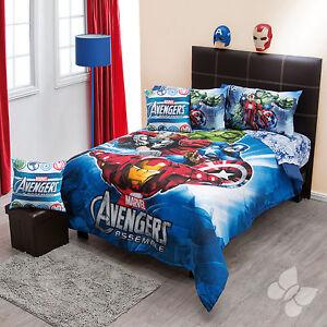 new boys marvel avengers captain america hulk twin comforter bedding sheet set ebay. Black Bedroom Furniture Sets. Home Design Ideas