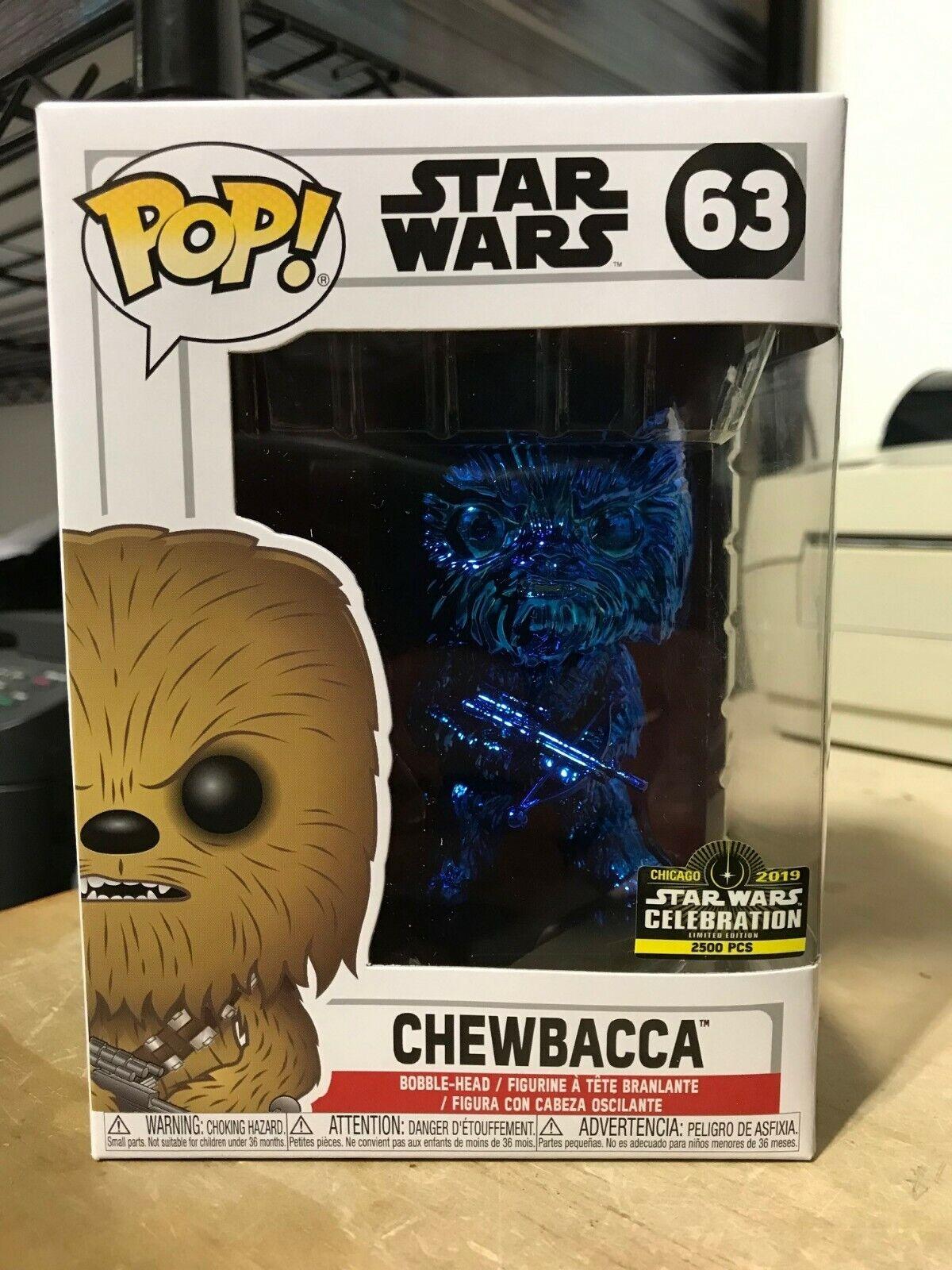 FUNKO POP Chewbacca Estrella Wars celebración 2019 Azul Cromo Exclusivo 2500 piezas