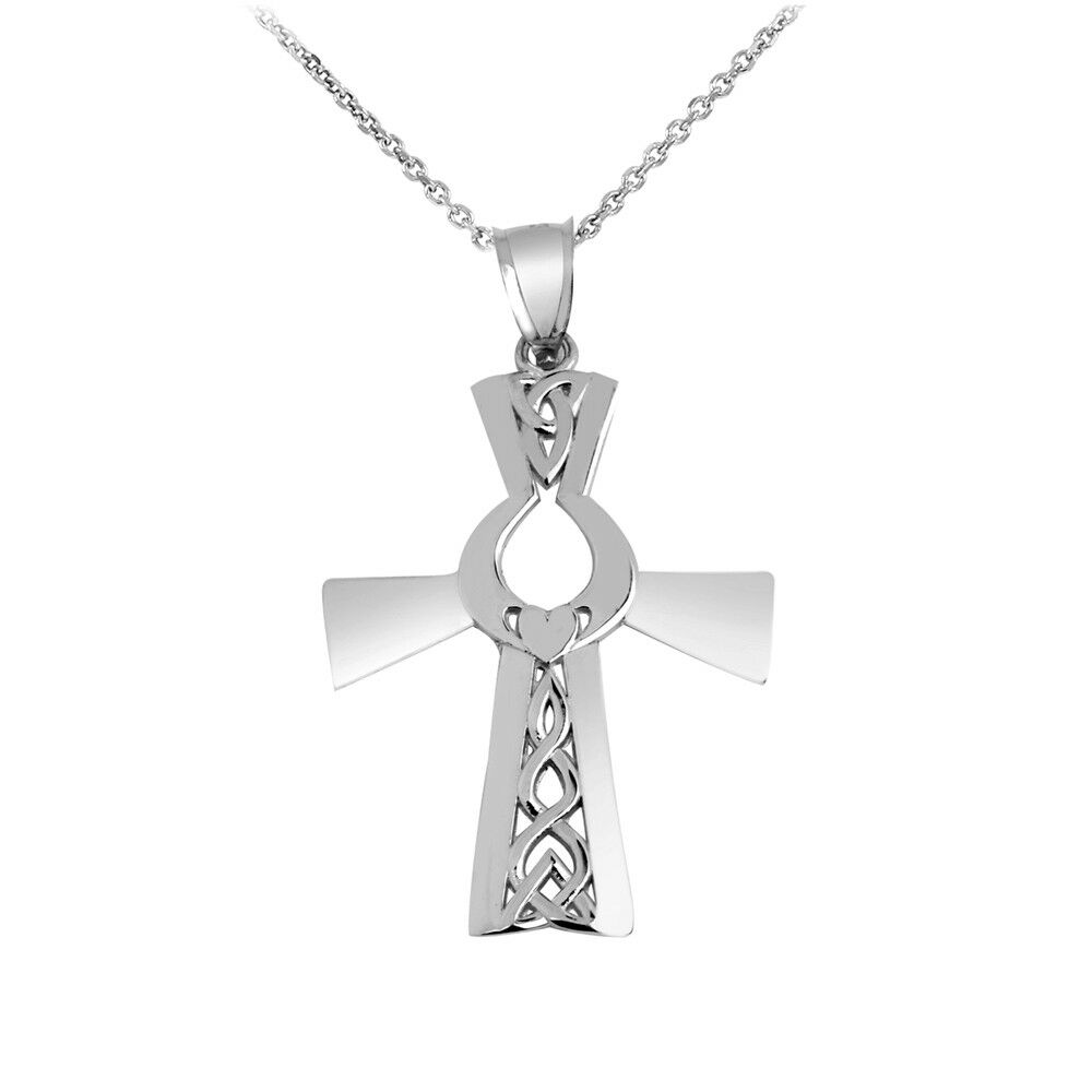 Solid 10k White gold Irish Cross With Claddagh Pendant