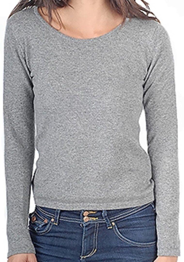 Balldiri 100% Cashmere Damen Pullover Rundhals 2-fädig grau XXL