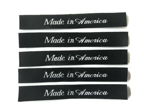 Made in America sew-in Woven Clothing Garment Label Cut /& Sealed Satin Label