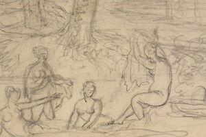 Um-1850-Bleistiftskizze-Antikisierende-Landschaft-mit-Badenden-Frauen-Antik