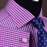 Magenta Red Striped Dress Shirt Contrast Plaids & Checks Designer Diamond Stars