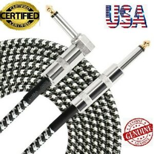 10ft-NOISELESS-Electric-Guitar-Bass-Cable-Pedal-AMP-Cord-1-4-034-NEW-CERTIFIED-USA