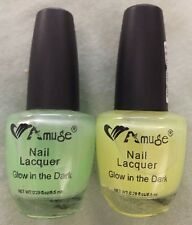 Glow In The Dark Nail Lacquer Polish 2 PACK Amuse Green & Yellow