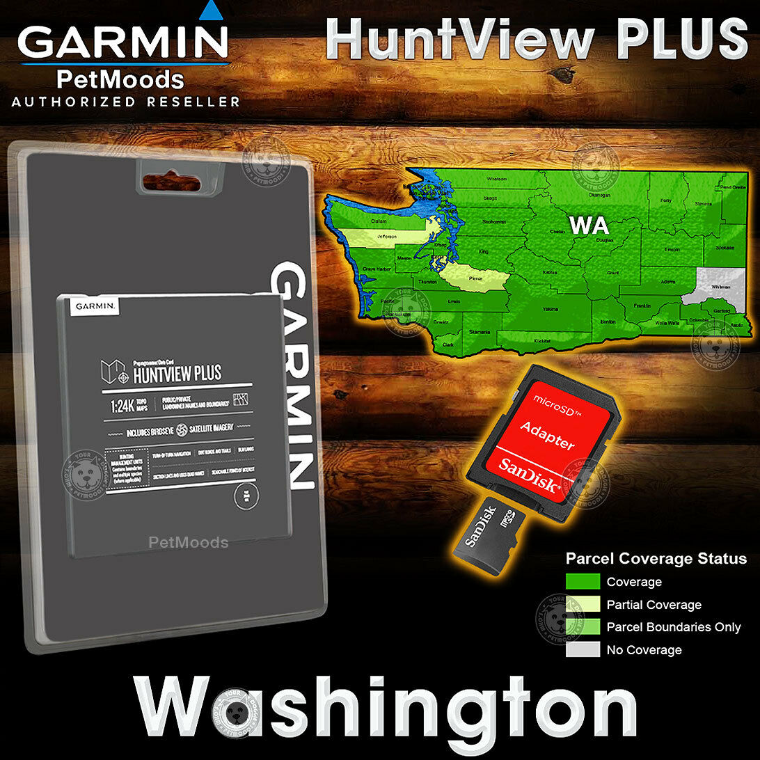 Mapa Garmin huntview Plus imágenes satelitales BirdsEye WASHINGTON-Microsd 24K