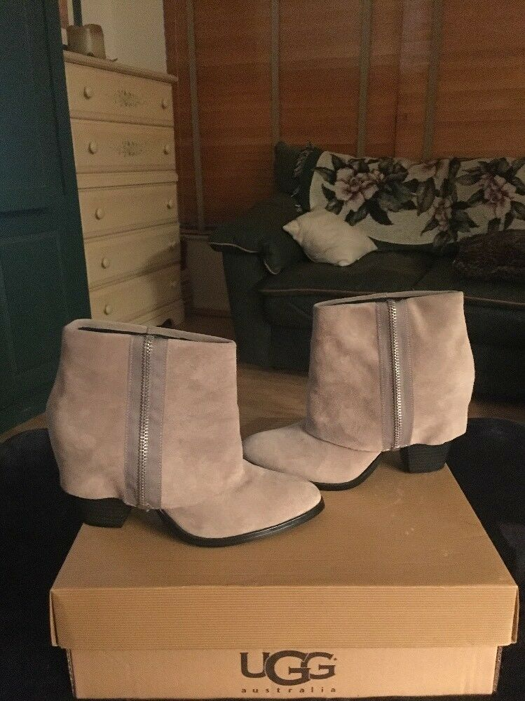 RACHEL ROY RAMONE TAUPE SUEDE CUFF ANKLE BOOTS 7.5M