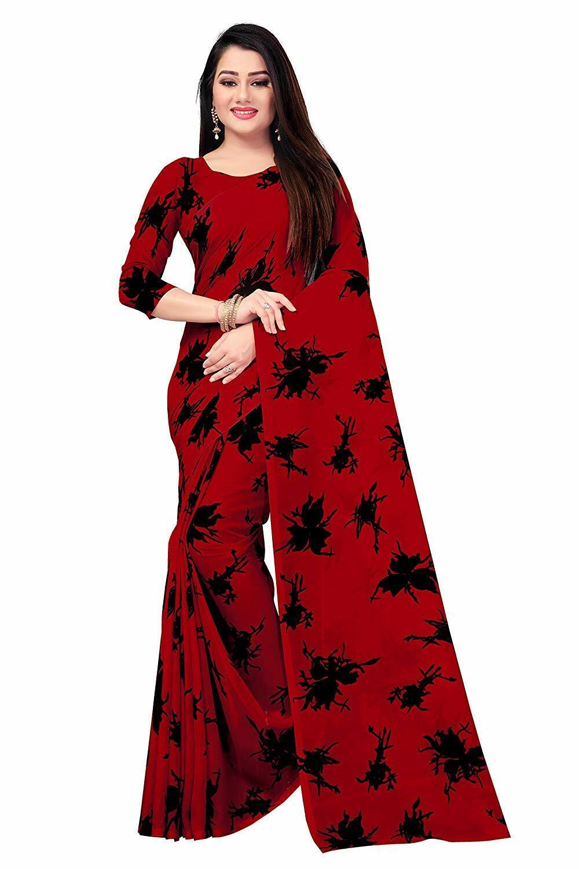 Red Printed Bollywood Saree Party Wear Indian Ethnic Wedding Designer Sari