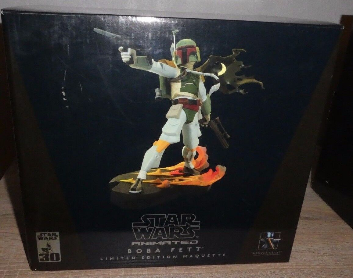 BOBA FETT Star Wars Animated LE 2586 7000 Gentle Giant Bust Maquette 2006 Statue