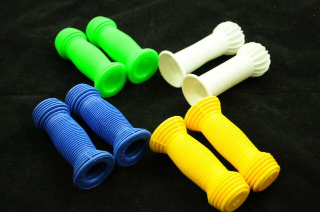PAIR KIDS JUNIOR HANDLEBAR GRIPS 22.2mm BIKES TRIKES WHITE,GREEN or YELLOW