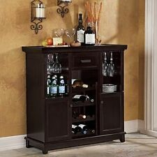 home wine bar expandable liquor storage cabinet glasses bottle rack holder wood