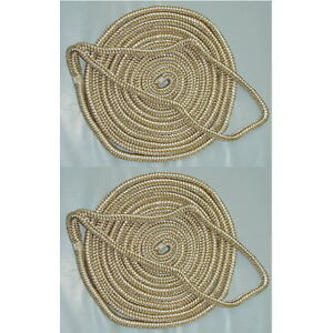 2 Pack of 3/8 x 20 Ft Gold & White Double Braid Nylon Mooring and Docking Lines