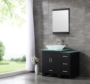 36 Ceramic Sink Bathroom Vanity Cabinet Solid Wood Modern Design W
