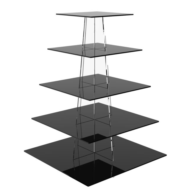 5 Tier Cup Cake Stand Wedding Birthday Party Acrylic Cupcake Display - Square