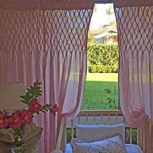 Image Is Loading Angads Girls Shabby Chic Pink Smocked Curtains Bedroom