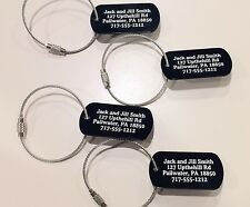 Personalized Aluminum Luggage Tags(set of 5) With Cables