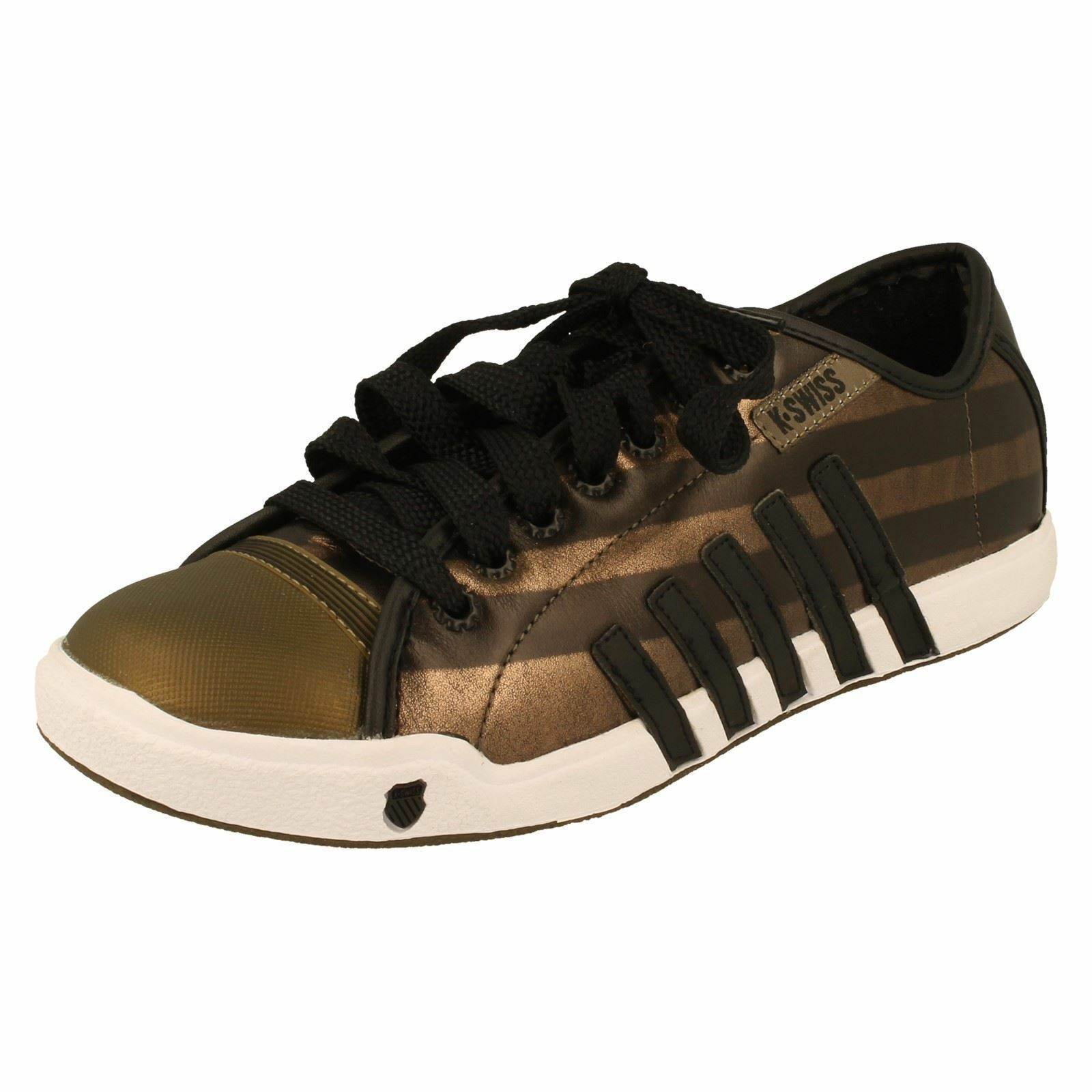 SALE Lace K-Swiss 'Moulton' Ladies Bronze Lace SALE Up Leather Trainers 87099c