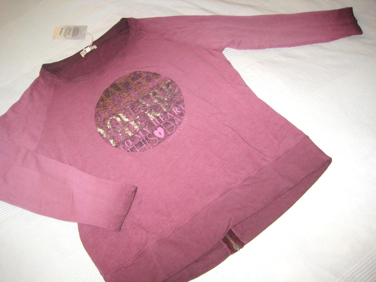 SOCCX Sweat SHIRT Autumn Diaries burgundy rot Gr. L 40 42 NEU Pailletten