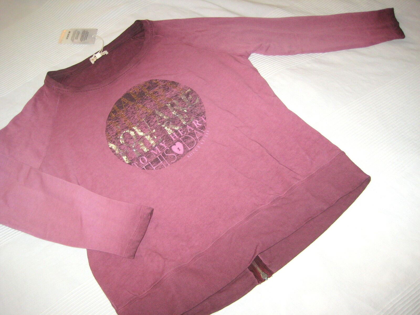 SOCCX Sweat SHIRT Autumn Diaries burgundy red Gr. L 40 42 NEU Pailletten