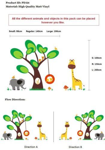 Nursery Wall Stickers Animal Jungle Safari Tree Kids wall Art Decals-P324