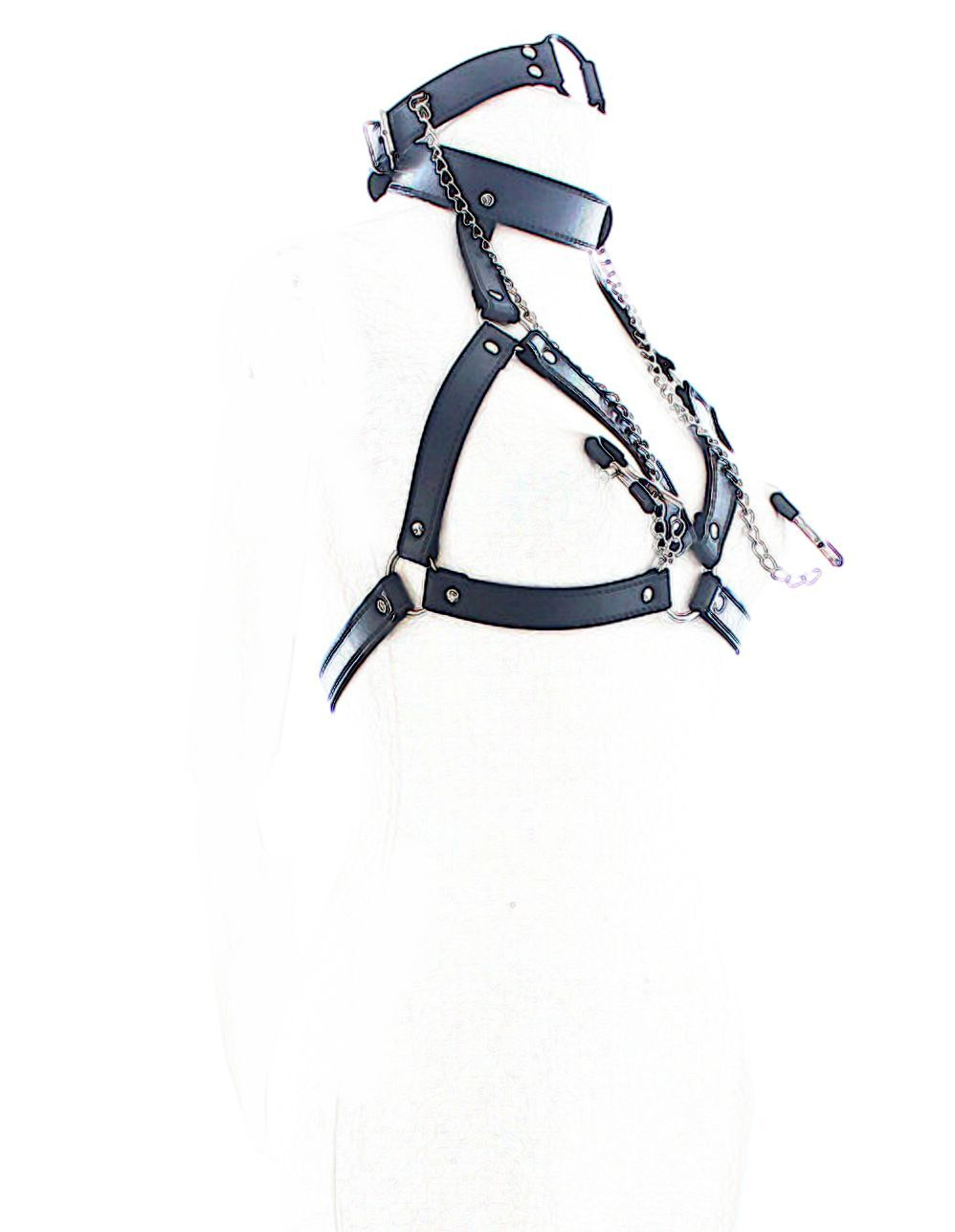 *** ADULT RESTRAINT WITH GAG COLLAR OPEN BRA CLAMP SM SEX FETISH ***