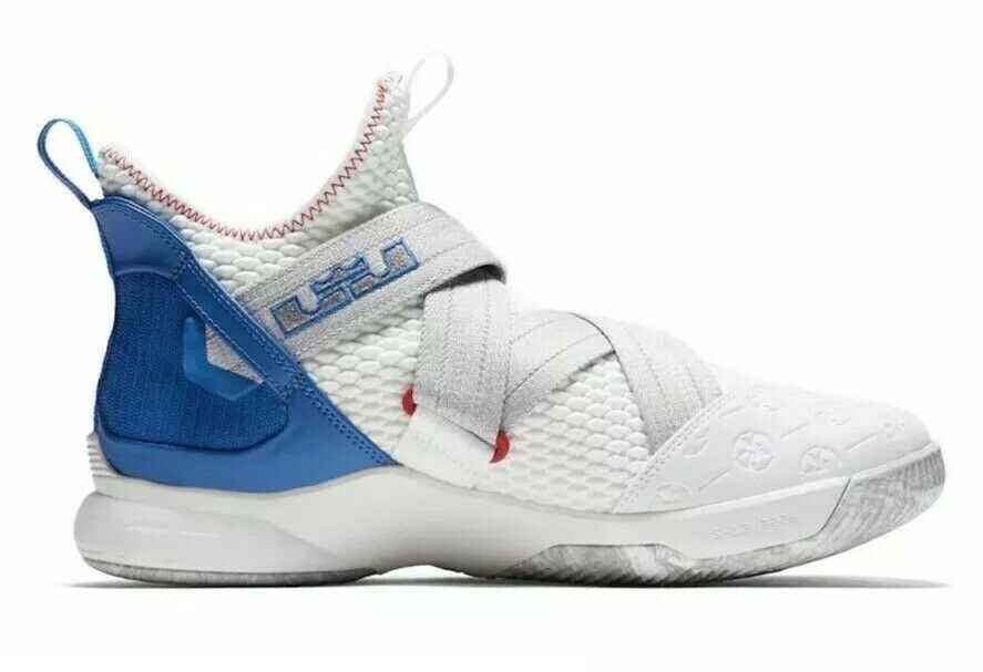 Nike Lebron Soldier XII 12 Mens Size 7.5 Basketball shoes White bluee AO2609 101