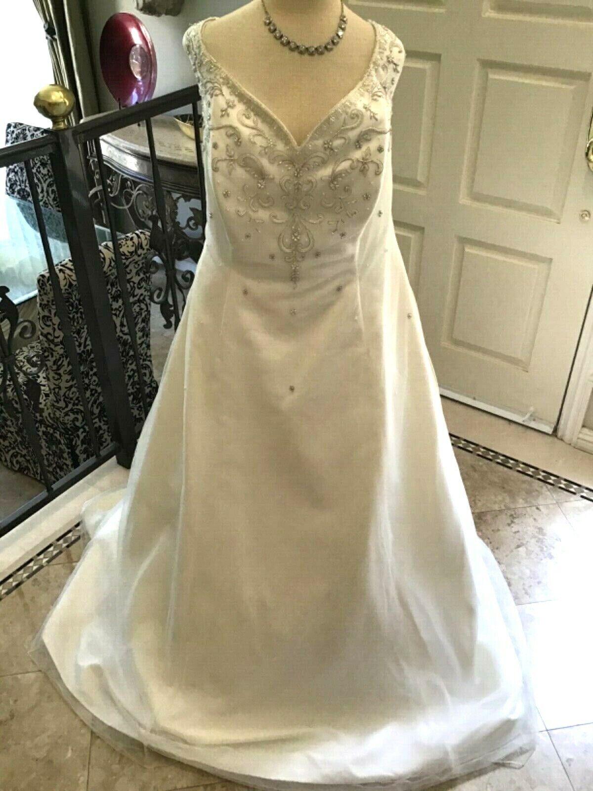 Mon Cheri Neu Braut Hochzeit Abendkleid Kleid A-Linie Schnürer Chiffon Ivory 20W