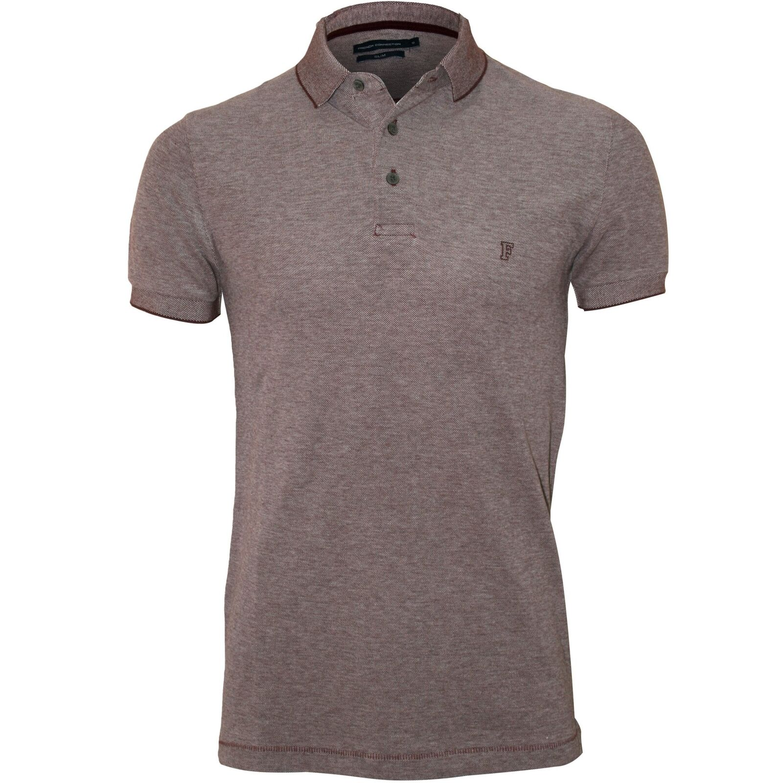 French Connection Classic Jersey Men's Polo Shirt, Burgundy Melange