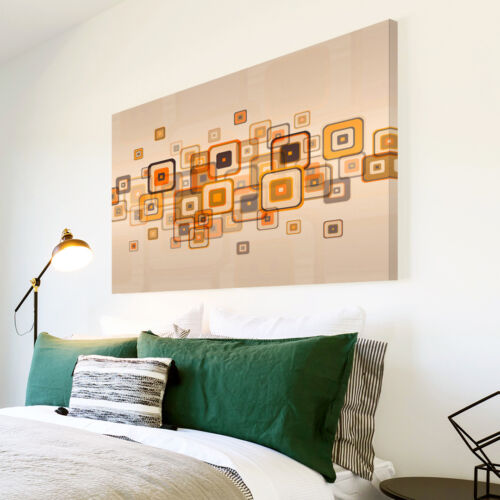 AB677 Retro Orange Brown Modern Abstract Canvas Wall Art Large Picture Prints