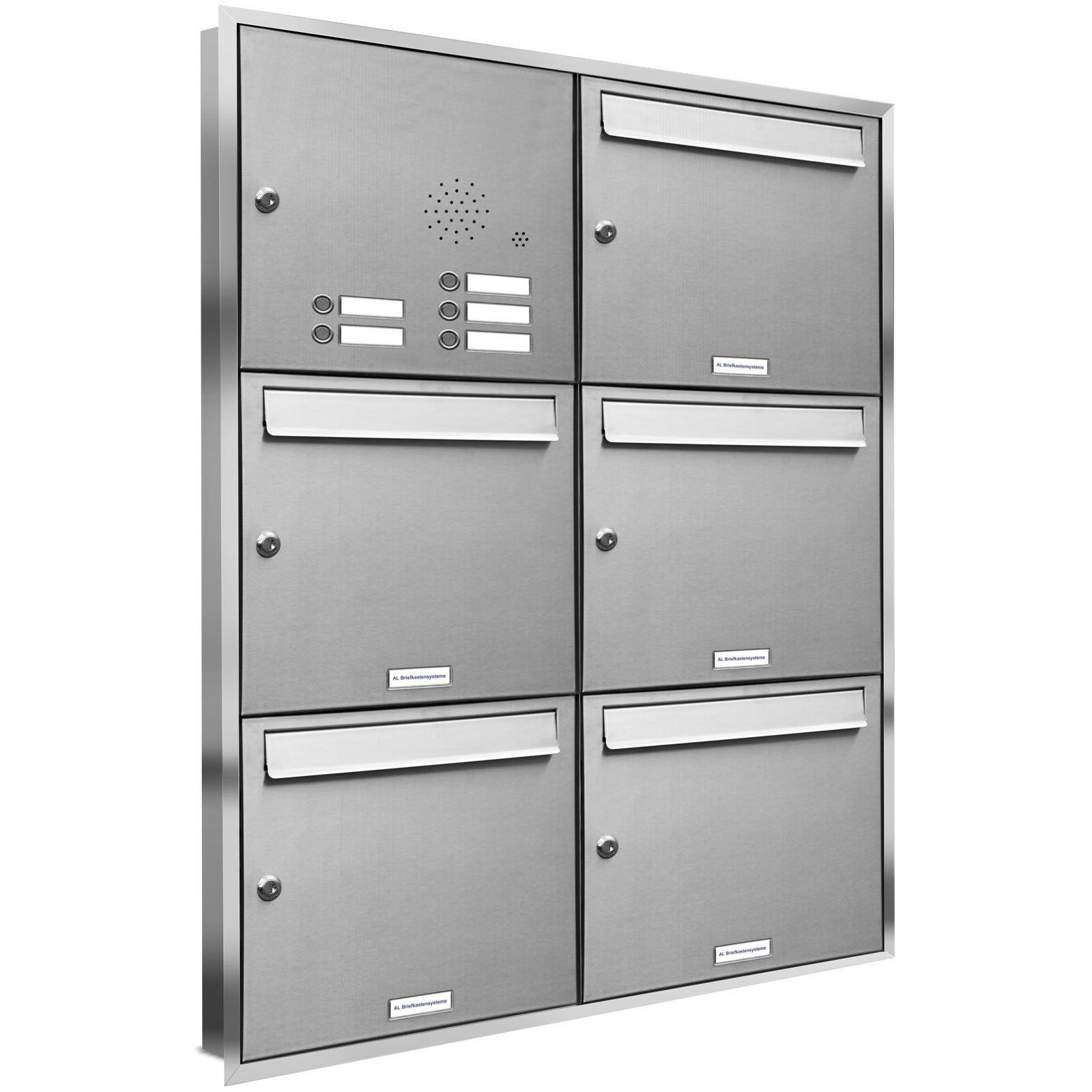 5 er Premium Edelstahl Unterputz Briefkasten Anlage Klingel Postkasten A4 3x2