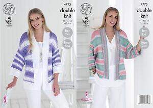 King Cole Ladies Double Knitting Pattern Womens Easy Knit Kimono Cardigans 4773