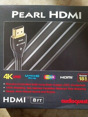 Authentic Audioquest Pearl Ultra 4K 8 Foot HDMI Cable NEW