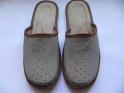 Para Hombre Cuero Zapatillas 100% Cuero Natural Talla Uk 6,7,8,9,10,11,12 Gris Claro
