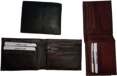 New Leather men/'s Bifold  wallet 6 credit cards zip change purse coin case BNWT