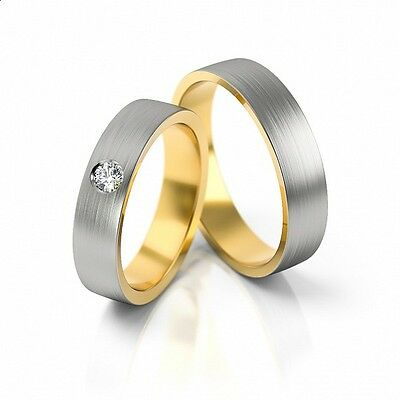 Ausdrucksvoll 1 Paar Trauringe Hochzeitsringe Gold 750 - Breite 4,8mm - Mit Diamant 0,05ct Dauerhafte Modellierung