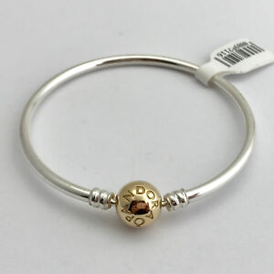 190cddad86b Details about Pandora Bangle Sterling Silver w/ 14K Gold Clasp Bracelet  8.3