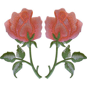 Pair-of-Peach-Pink-Rose-Patches-Iron-Sew-On-Embroidered-Roses-Flower-Patch-Badge
