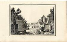 Stampa antica Veduta di POMPEI Napoli 1845 Old antique print
