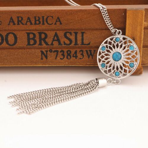Retro Dream Catcher Turquoise Feather Charm Pendant Jewelry Long Chain Necklace