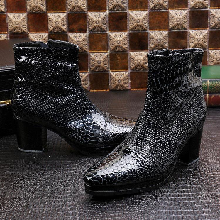 Cuero para Hombre Estilo Retro Con Puntera Puntiaguda botas al Tobillo Zapatos Taco Alto Grueso Piel De Serpiente Lit01