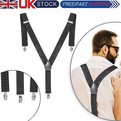 35mm Adjustable Elasticated Heavy Duty Mens Suspenders Braces Clip on Trousers