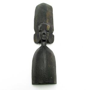 Vintage-African-Tribal-Statue-Thin-Ebony-Wood-Carved-Crown-Figurine-Hand-Made