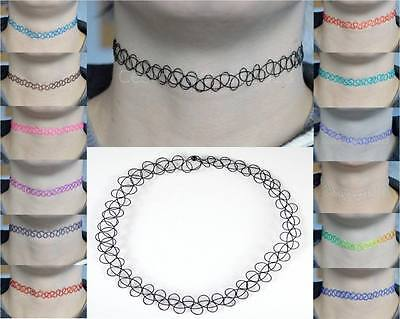 Vintage Stretch Tattoo Choker Necklace Retro Henna Black Purple Elastic 80s 90s