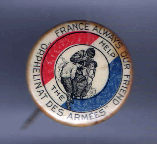 1910s WWI Homefront pin FRANCE Help Orphans pinback FLAG colors
