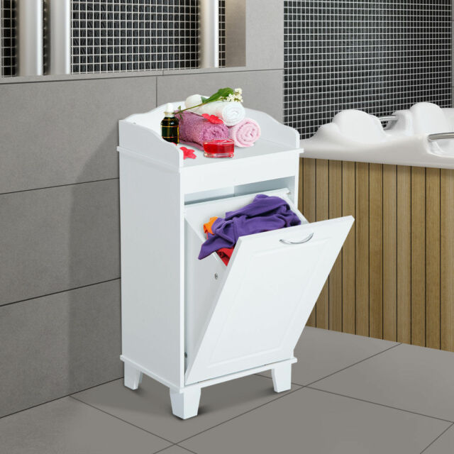 Wooden Bathroom Laundry Hamper Cabinet Tilt Out Basket Storage Home Furniture