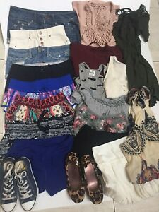 Lot-of-GIRLS-Spring-Summer-Clothes-amp-Shoes-20-pc-Am-Eagle-Bullhead-etc-Sz-S-XS
